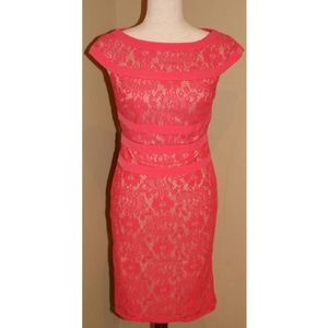 Coral Adriana Papell lace cocktail dress size 4